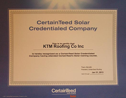 KTM Roofing Solar Credentials